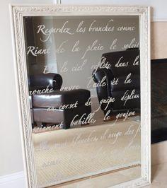 DIY: french script stenciled mirror