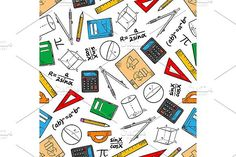 Mathematics seamless pattern of books and pencils, rulers, calculators and compasses, geometric figures, drawings and algebra formulas. Pattern Art, Pattern Design, Embroidery Patterns, Quilt Patterns, Graphic Patterns, Graphic Design, Algebra Formulas, School Themes, Background Patterns