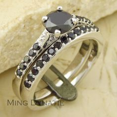 Spinello nero simulato diamante nero da sposa di fidanzamento fascia bianca anello di pietre preziose placcato in oro set cyr6033t ci dimensione 7,8,9