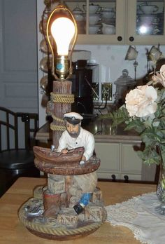 1987 Apsit Brothers California Chalk Ware Ship/Boat Builder Sailor Old Salt  Lamp