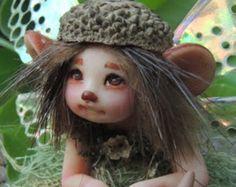 Tiny Woodland Mushroom Fairy by Celia Anne Harris OOAK  Made