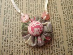 Sold Out Cute Little Girls Fabric Yoyo Button Necklace - by theshoparoundthecorner on madeit