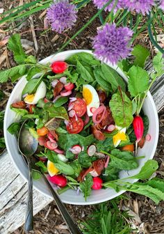 Wilted Mixed Greens with Bacon and Eggs - Simple Bites Warm Spinach Salads, Spinach Egg, Pickled Shallots, Baking Cookbooks, Buttermilk Fried Chicken, Healthy Vegetable Recipes, Potluck Dishes, Large Salad Bowl, Bacon Egg