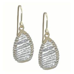 Two Tone Pear Shaped Earrings https://www.goldinart.com/shop/earring/14k-earrings/two-tone-pear-shaped-earrings #14KaratYellowAndWhiteGold, #DiamondCut, #Mesh