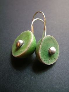 raku ceramic and silver earring