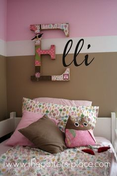 Little Girl's room.I've always loved the girl owls! Cute idea for a little girl's room! If you don't wat to paint or adhere stickers to the wall for the name - use smaller wood letters painted a solid color and hang. Little Girl Rooms, Little Girls, Deco Kids, Wood Letters, Painted Letters, Monogram Letters, Decorated Letters, Big Letters, Letter Art