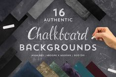This unique collection of chalkboard backgrounds covers a variety of shades, colours and textures to give your designs an authentic, handcrafted chalkboard