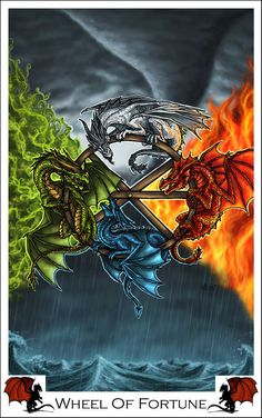 Another card for my dragon tarot set. Read more about the Dragon Tarot Project here:[l. Dragon Tarot -Wheel Of Fortune Magia Elemental, Elemental Magic, Fire Dragon, Dragon Art, Fantasy Creatures, Mythical Creatures, Fantasy World, Fantasy Art, Fantasy Drawings