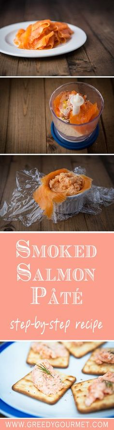 Salmon Pâté Smoked Salmon Pâté is a sophisticated starter that is super easy to make - under 5 minutes flat!Smoked Salmon Pâté is a sophisticated starter that is super easy to make - under 5 minutes flat! Easy Salmon Recipes, Fish Recipes, Seafood Recipes, Appetizer Recipes, Catering Recipes, Catering Ideas, Recipies, Pate Recipes, Cooking Recipes