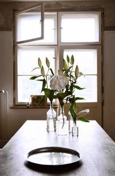 Tabletop Flowers In Glass Jars