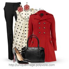 Red Jacket, with doted shirt and black pant by  uniqueimage