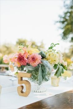 What do you do when you wake up to 111 degree temperatures on your wedding day? There really isn't one right answer, although we do think this adorable couple did a spectacular job keeping their cool through a record level heat wave. Rustic Wedding Centerpieces, Wedding Table Settings, Wedding Table Centerpieces, Wedding Table Numbers, Wedding Decorations, Wedding Tables, Vintage Table Numbers, Wooden Table Numbers, Coral Wedding Flowers