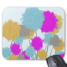 Splat painted flower scene mouse pads.  $10.95