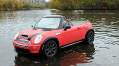 Floating Mini /Mini USA/Rex  Mini is making something of a splash in the US with a new one-off model - a floating car.  The car maker tested its buoyant special edition Mini on the Charles River in Cambridge, Massachusetts.  The convertible boat, powered by a 6hp outboard motor, is a fiberglass version of a 2004 Mini hard-top.