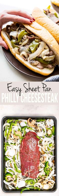 Pan Philly Cheese Steak Easy, flavorful, and oh so fun! We love this Sheet Pan Philly CheesesteakEasy, flavorful, and oh so fun! We love this Sheet Pan Philly Cheesesteak Beef Recipes, Cooking Recipes, Sirloin Recipes, Pan Cooking, Beef Sirloin, Family Recipes, Turkey Tenderloin Recipes, Beef Welington, Recipies