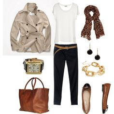 "so easy...but lacking the perfect pair of black pants...  ""Khaki Trench"" by bluehydrangea on Polyvore"