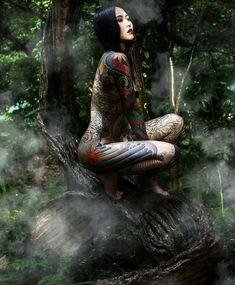 Tattoo by Diau bo Badass Tattoos, Hot Tattoos, Girl Tattoos, Tattoos For Women, Tattooed Women, Japanese Dragon Tattoos, Traditional Japanese Tattoos, Japanese Tattoo Art, 4 Tattoo