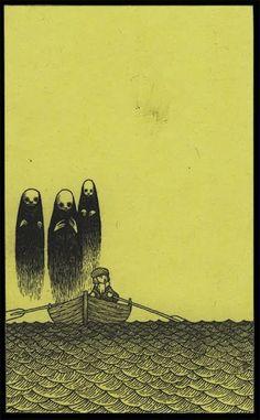 John Kenn, three ghost & boat