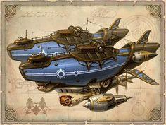 /tcc/ Steampunk Ship, Arte Steampunk, Steampunk Design, Game Art, Medieval, Fantasy Art, Fantasy Landscape, Sci Fi Ships, Pulp