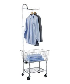 Commercial Laundry Cart on Wheels Chrome Laundromat Basket Clothes Hanging Rack for sale online Laundry Cart, Laundry Storage, Laundry Basket, Laundry Organizer, Clothes Drying Racks, Hanging Clothes, Clothes Hanger, Clothes Basket, Hanging Bar