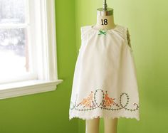 Vintage Pillowcase Dress-Baby Girls-Irish Colors- Hand Embroidery- Shabby Chic Heirloom