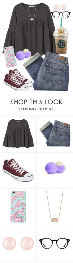 """""""😍😍😍"""" by ecarri on Polyvore featuring MANGO, Paige Denim, Converse, Eos, Lilly Pulitzer, Kendra Scott, Henri Bendel and Ray-Ban"""