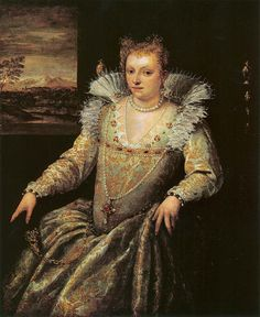 1581-84 Lady in White by Domenico Robusti Tintoretto with an ornamented fur