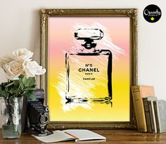 Coco Chanel perfume Printable, Chanel No.5. Paris Perfume, Watercolor printable wall art, perfume bottle print, coco chanel bottle
