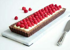 Hindbærtærte med chokolademazarin og vaniljecreme