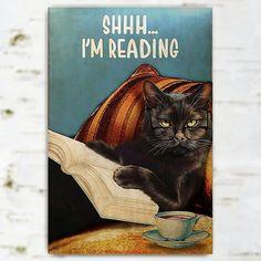 Halloween Black Cats Metal Sign, Cat's Reading Metal Sign - Halloween Gift