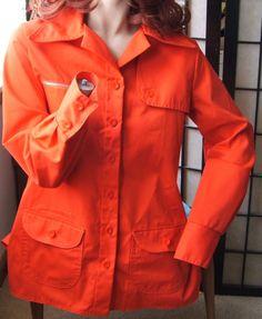 Vintage Orange Canvas Jantzen Ladies Jacket 60s 70s Hipster Mod 12 Spring