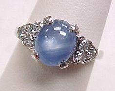 SO UNIQUE!  Vintage Ring Platinum 2.0 Carat Star Sapphire & Diamond from arnoldjewelers on Ruby Lane