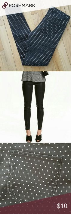 New H&M black with stars slim fit leggings Size 6 Cute and comfortable slim fit H&M leggings eith back pockets but no front pockets. Great for a night out or a awesome work pant. Dress it up or down. Size 6 but fits more like a size 4. They do have stretch to them as well.   Bundles welcomed!  Happy poshing!! XO H&M Pants Leggings
