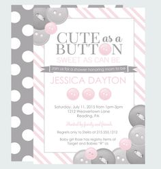 Superb Baby Shower Games For A Girl, Printable Baby Shower Games, Cute As A Button  Baby Shower, Pink Baby Shower Game, ONE GAME Invitation In Shop | Babies  And ...