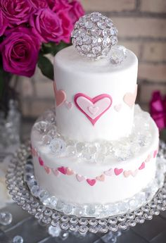 Beautiful Cake Pictures: White Pink Heart Cake With Swarovski Crystals Topper - Cakes With Jewels, White Cakes - Valentines Day Cakes, Valentines Day Weddings, Beautiful Cake Pictures, Beautiful Cakes, Amazing Cakes, Pretty Cakes, Cute Cakes, Yummy Cakes, Wedding Cake Toppers