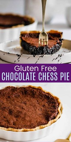 Gluten Free Chocolate Chess Pie - with a foolproof gluten free pie crust you can enjoy this Souther classic dessert recipe! So rich and chocolaty, it is sure to satisfy any sweet tooth! Gluten Free Chocolate Pie Recipe, Chocolate Pie Recipes, Vegetarian Chocolate, Chocolate Flavors, Easy Gluten Free Desserts, Homemade Desserts, Fun Desserts, Dessert Recipes, Amazing Recipes