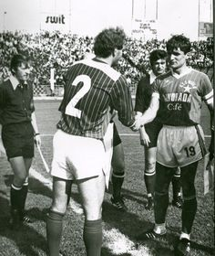 Polish coach Adam Nawałka (on the right) playing for Wisła Krak& in 1984 Retro Football, Summer Olympics, Krakow, Olympic Games, Golden Age, Polish, Characters, Magic, Enamel