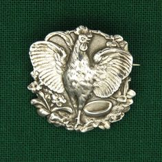 French Art Nouveau Gallic Rooster Silver Brooch