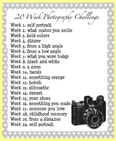 photo challenge, maybe one a week would be easier to keep up with at first