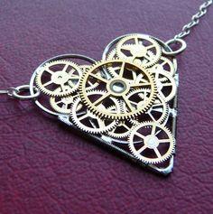 Clockwork Heart Necklace Longing Elegant by amechanicalmind