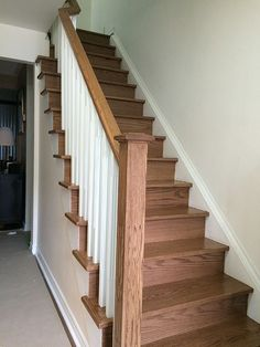 Straight-stairs-white-pickets-new-wood-post-in-oak-Installed-in-Newmarket.jpg (525×700)