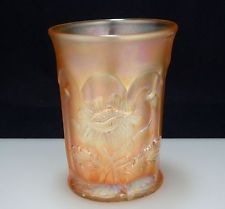 Northwood Marigold ORIENTAL POPPY Carnival Glass Tumbler