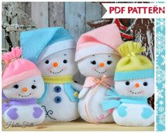 This PDF sewing pattern is to make Snowman and family dolls from felt, their hats, Snowmans vest, scarves and Mrs. Snows Shawl. These dolls are hand sewn. Size: Snowman and Mrs. Snow: 6.5 tall aprox. Babies: 4.5. THIS IS NOT A FINISHED TOY. **Pattern does not include finished dolls, supplies or fabric.**  THIS PDF Pattern includes: . Step by step images tutorial. . A material and supply list. . Full size pattern pieces. (No need to enlarge or re-size)  . Skill Level: easy (Some pattern…