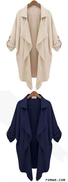 Roll Tab Sleeve Waterfall Collar Duster Coat