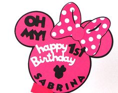 Personalized Minnie Head With Name and Age Party Centerpiece Stick Mickey Mouse Clubhouse Themed