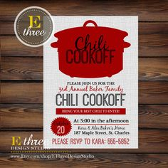 Chili Cookoff Invitations - Fall Party Invitations - Fall Chili Cook Off Invite - Red and Gray Party