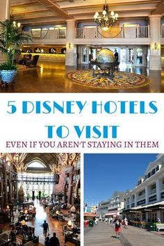 Check out these 5 Disney hotels to visit even if you aren't staying at them. Disney Value Resorts, Disney World Hotels, Disney Destinations, Walt Disney World Vacations, Disney Trips, Family Vacations, Family Travel, Disney Travel, Disney Cruise