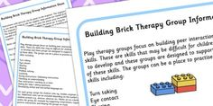 Building Brick Therapy Group Information Sheet - lego, group discussion