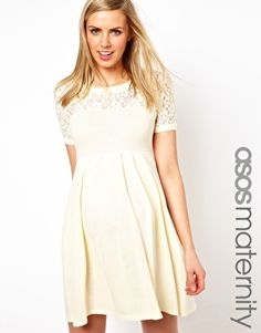Image 1 ofASOS Maternity Exclusive Knitted Dress With Lace Insert