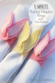 rond de serviette lapin (tutoriel gratuit - DIY)                              …
